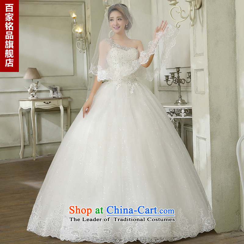 Wedding 2015 new stylish Korean version of large numbers of the shoulder on-chip video thin and marriages chest straps to wedding bon bon skirt White XL