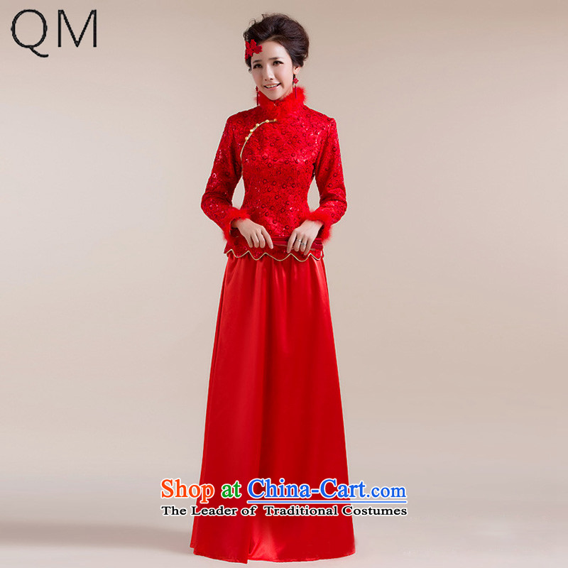 The end of the light (QM) Gross Gross for cuff dot decorated under the aliasing dragging long skirt Tang dynasty marriage qipao CTX RED XL