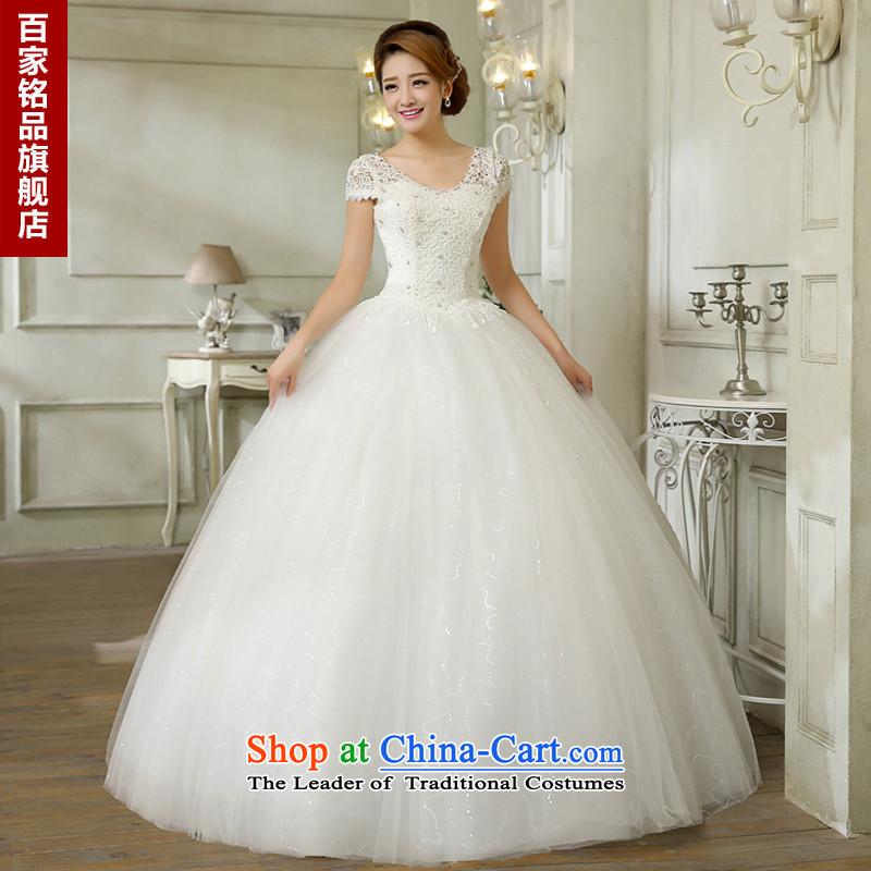 Wedding dress white 2015 new stylish Korean word diamond shoulder straps v-neck lace video thin shoulders wedding marriage with white L