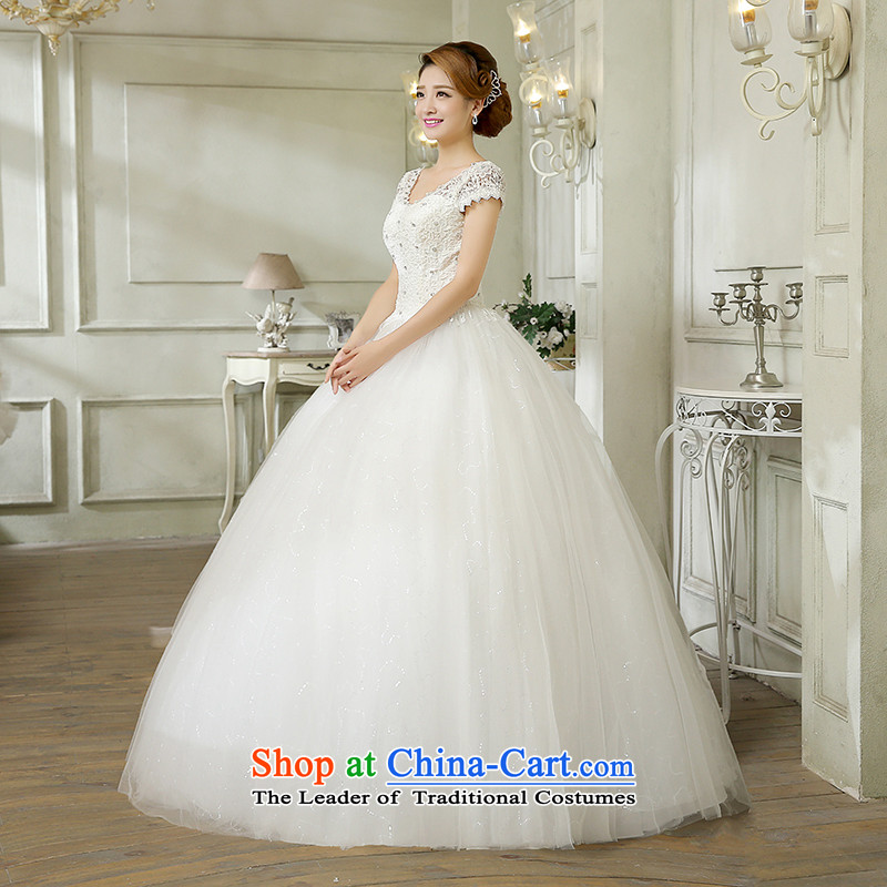 Wedding dress white 2015 new stylish Korean word diamond shoulder straps v-neck lace video thin shoulders wedding marriage with white , L, hundreds of Ming products , , , shopping on the Internet
