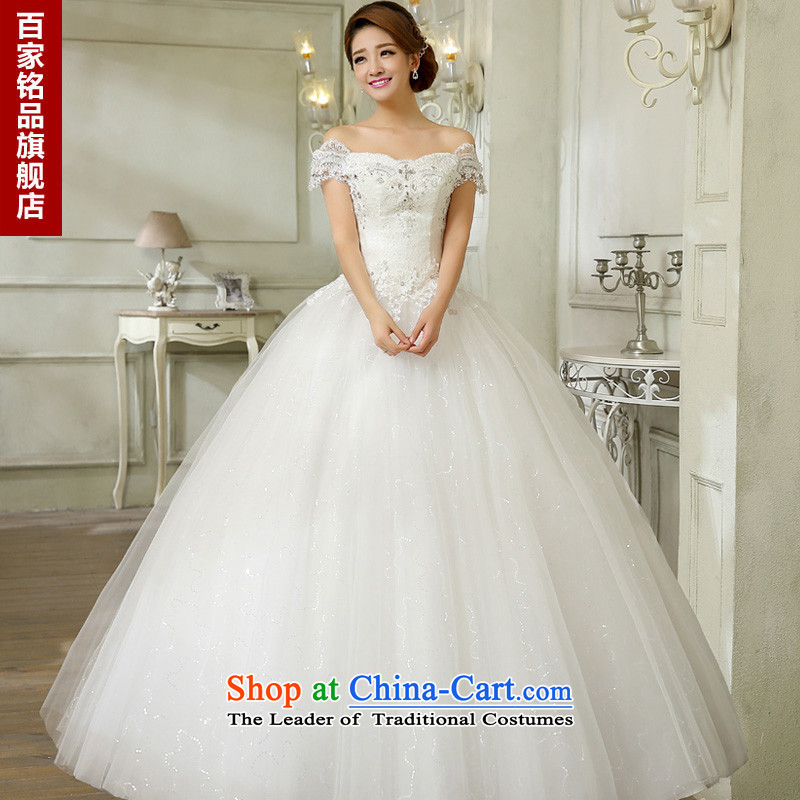 The Korean version of the stylish wedding dress luxury diamond lace the word   Graphics thin shoulders to align the shoulder straps wedding autumn 2015 new promotional white聽L