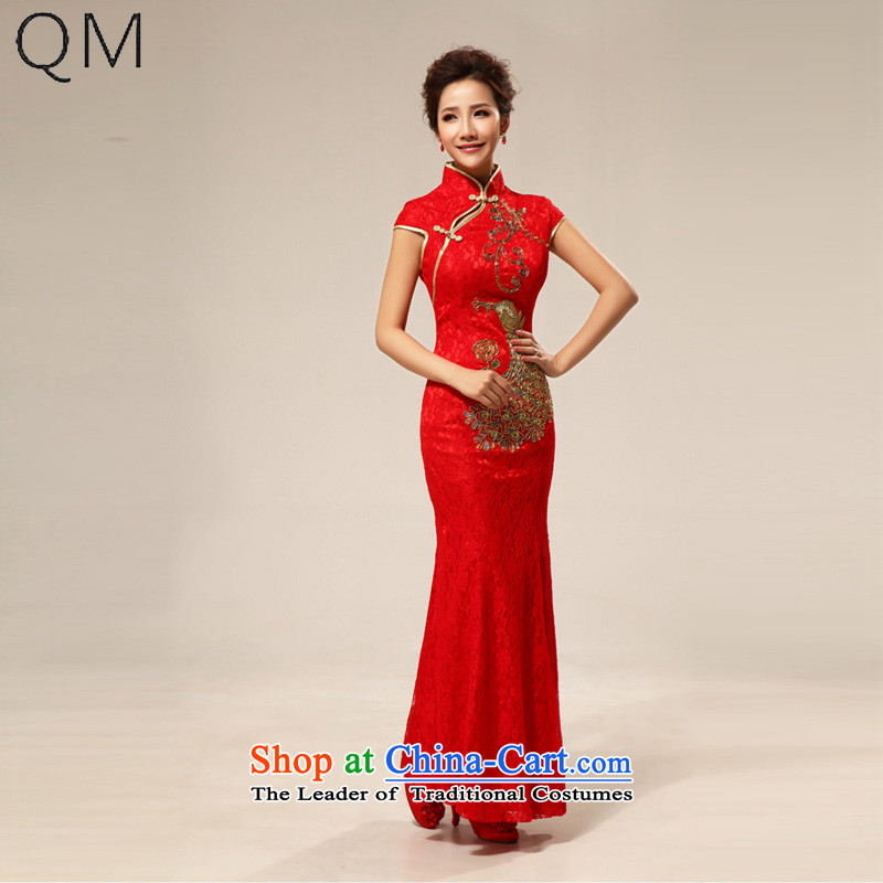 The end of the light (QM) retro lace improved marriages cheongsam dress bows wedding bride with�CTX QP66�RED�L