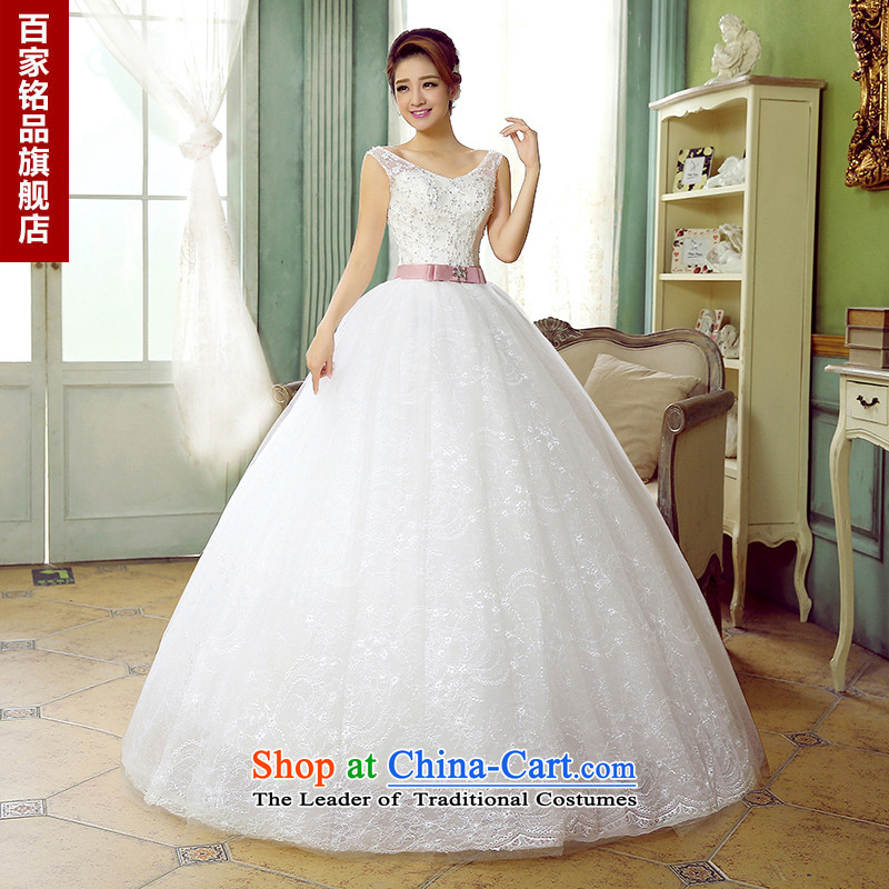 Wedding dress female�2015 autumn the new Korean sweet gentlewoman shoulders the strap is simple and stylish graphics thin sweet Princess Sau San white wedding New White�M