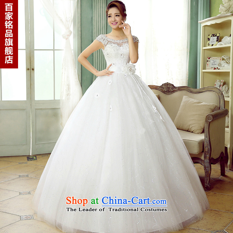 The autumn 2015 new wedding dresses female marriages shoulders Korean fashion diamond lace tie a field to align the shoulder wedding, White�XL