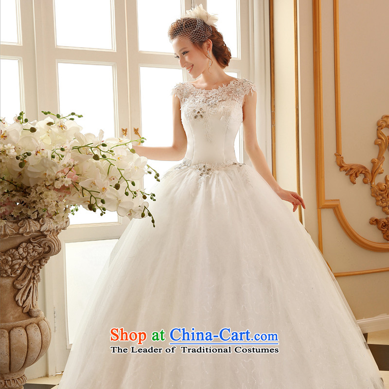 2015 Autumn and winter new wedding dresses marriages shoulders retro lace a shoulder straps to align the Sau San wedding small white tail wedding dresses White�XXL