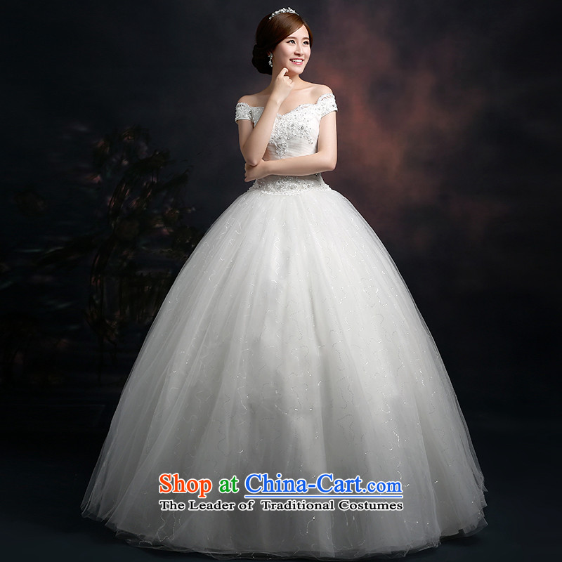 The new 2015 autumn and winter bride wedding dresses stylish Korean word shoulder bags shoulder straps to align the bride Sau San video thin white wedding dresses tailored