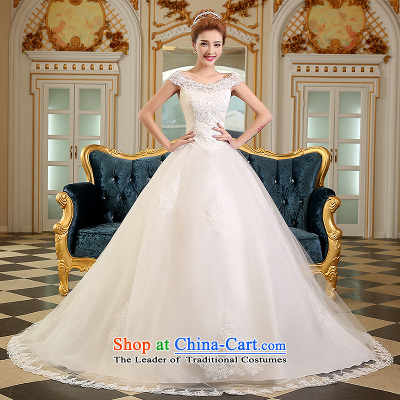 The Korean version of the divas autumn 2015 new stylish wedding day Korean word shoulders a luxurious hotel small trailing larger MM thick video thin pregnant women wedding white�XS( slotted shoulders fashion sense)