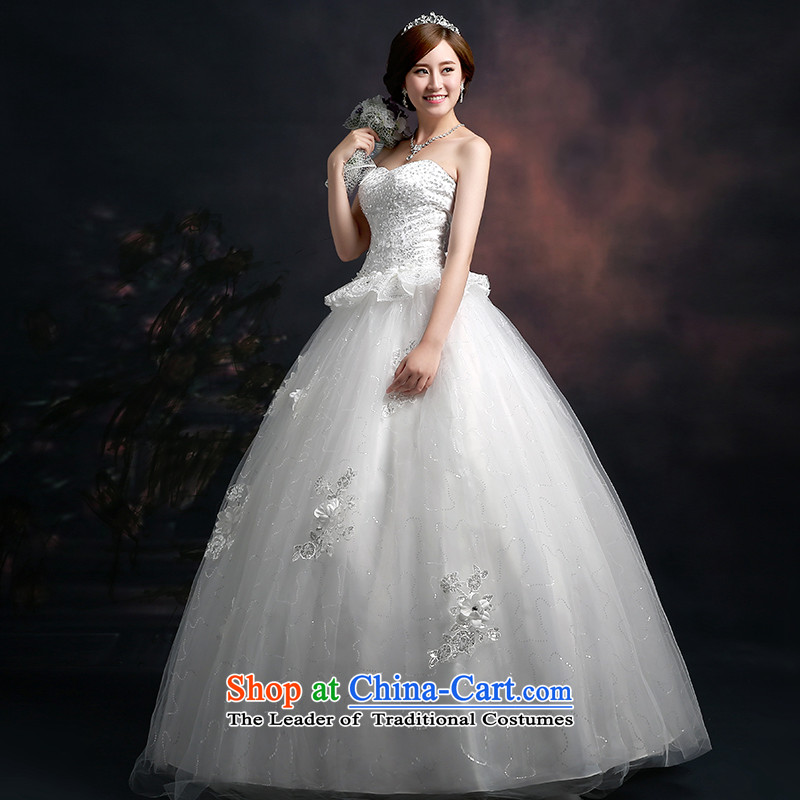 Wedding dresses new 2015 winter white strap lace sequin embroidery on wedding dresses bon bon skirts and chest bride wedding dresses white tailored