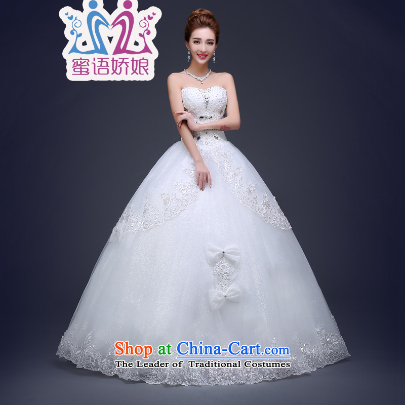 Talk to her wedding dresses spring 2015 to align the new Korean large stylish graphics thin lace wipe out of Sau San Chest White聽M