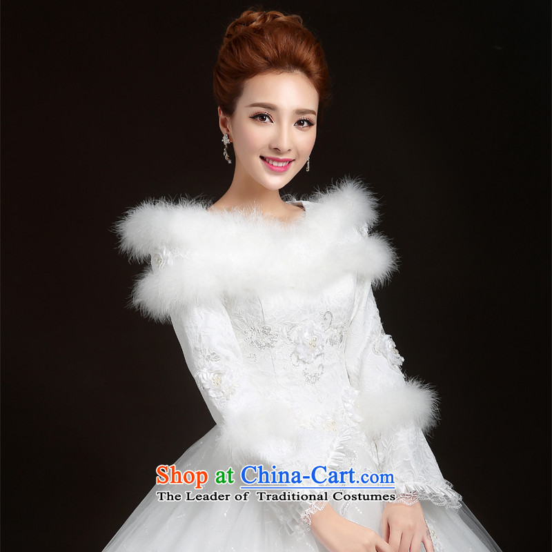 Winter wedding dresses new 2015 winter wedding to align the Korean winter, long-sleeved thick wedding marriages winter_ wedding dresses White聽XXL
