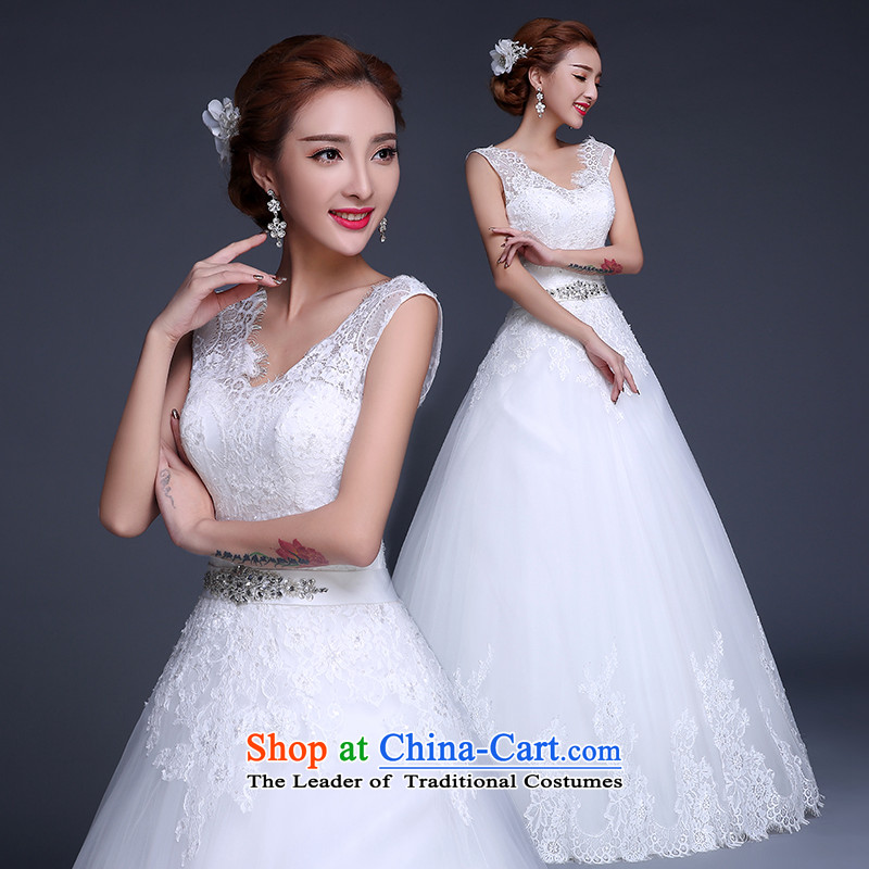 Wedding dresses new 2015 winter stylish Korean shoulders V-Neck marriages to align the wedding code strap Sau San video thin wedding dresses white聽L