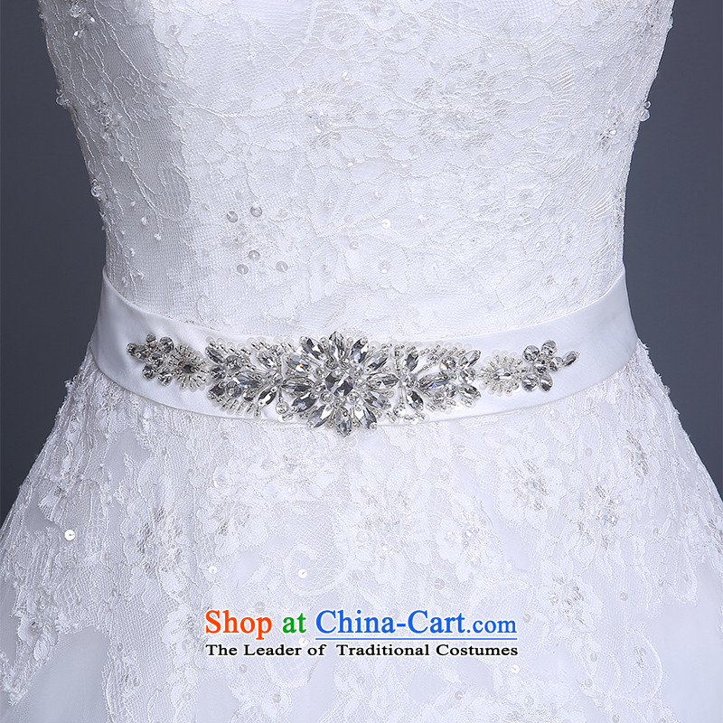 Wedding dresses new 2015 winter stylish Korean shoulders V-Neck marriages to align the wedding code strap Sau San video thin white wedding dresses, L, Lily Dance (ball lily shopping on the Internet has been pressed.)