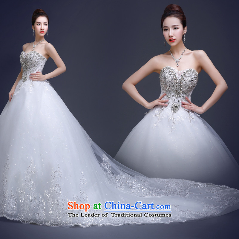 Wedding dresses new 2015 Summer bride wedding long tail larger Sau San Wedding Korean fashion and chest marriage wedding dresses diamond Glass Drill white tailored