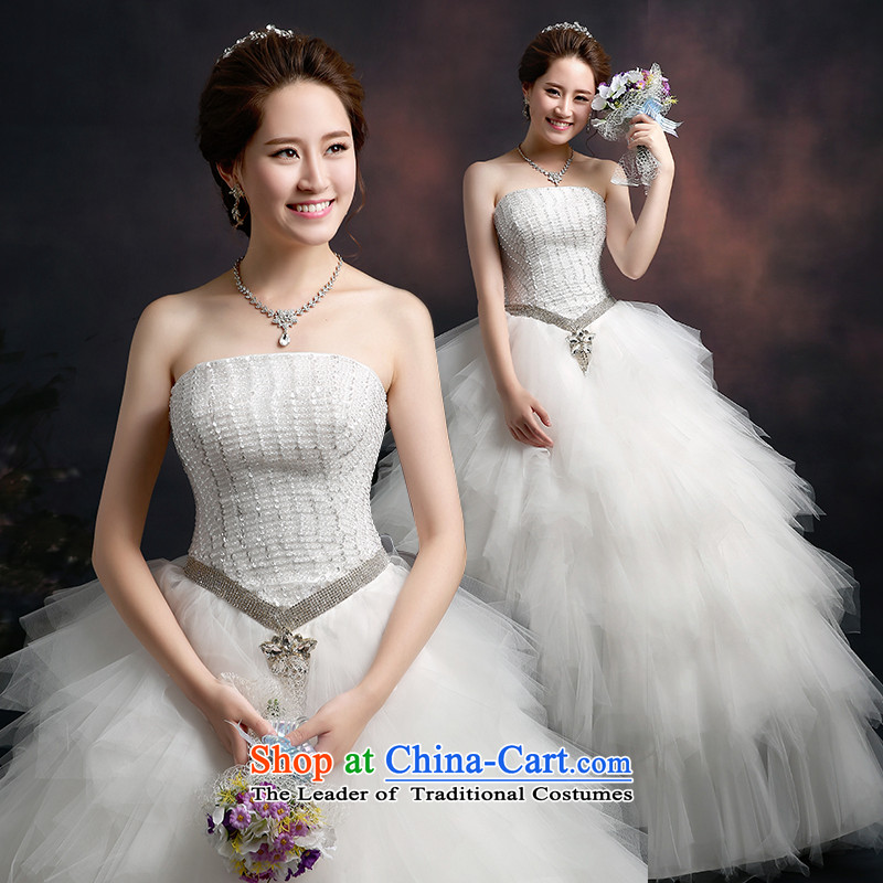Wedding dresses new 2015 winter stylish bride anointed chest wedding video thin wedding code align to bind with wedding dresses Korean style wedding winter of thick White XXL