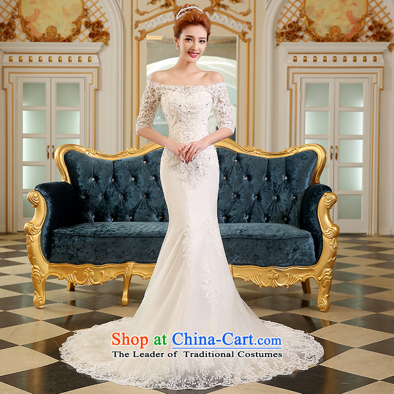 The Korean version of the divas wedding autumn 2015 new crowsfoot small trailing long word wedding dress in shoulder cuff small trailing crowsfoot Sau San wedding guests will find all of the?word PUERTORRICANS white shoulders in a stylish cuff)