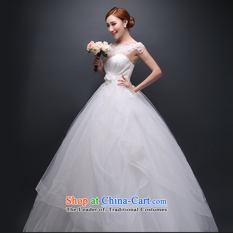 Hei Kaki 2015 autumn and winter new stylish wedding dress Korean word shoulder greater code bride winter wedding align to bind with autumn and winter ivory聽S