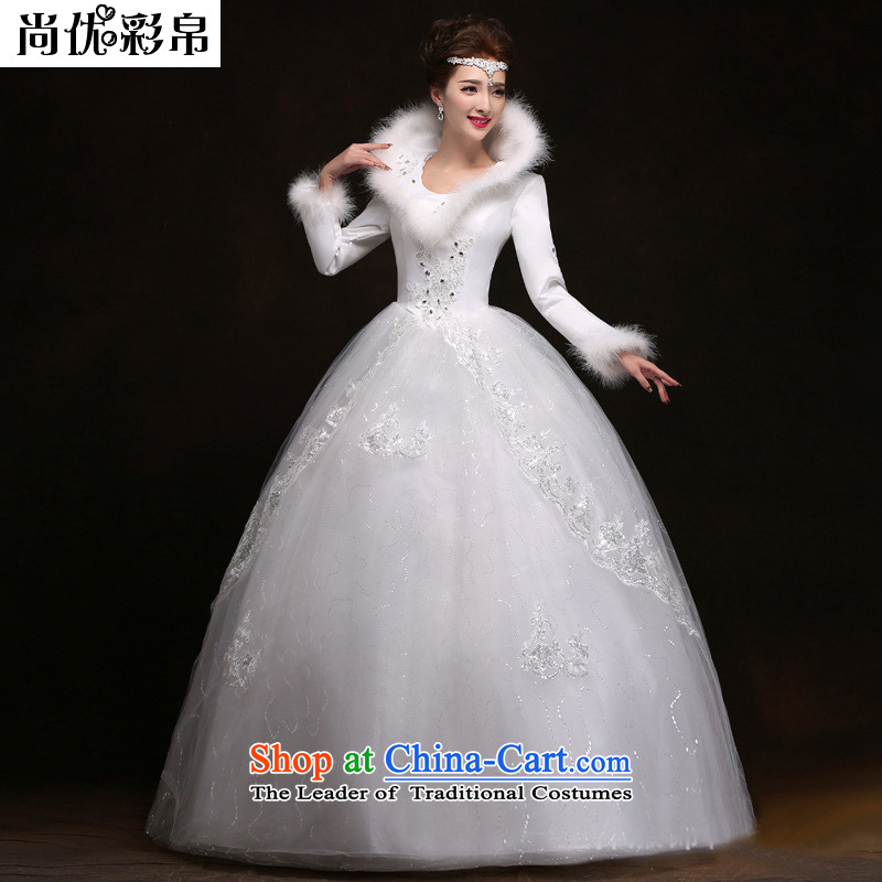 There is also a grand 2014optimize new winter) Bride long-sleeved wedding thick warm winter clothing marriage wedding dress winter YSB2063 white?S