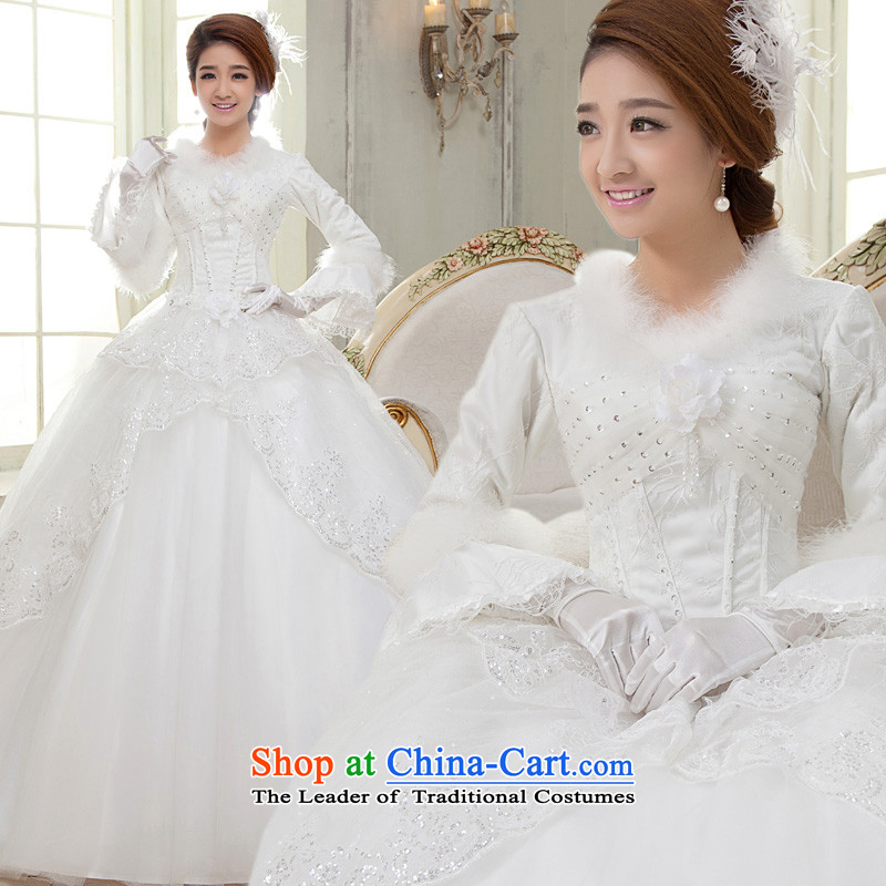 The privilege of serving-leung 2015 winter new bride wedding dress long sleeved shirt with white graphics to align the thin wedding dress for winter White�M