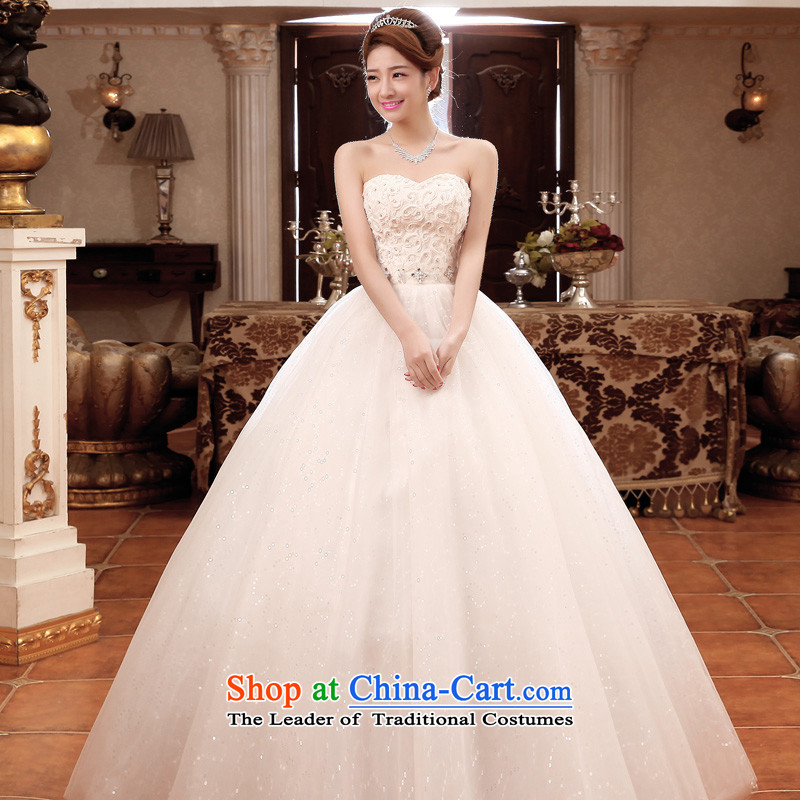 The privilege of serving-leung 2015 new bride wedding dress wiping the chest white graphics to align the large thin wedding dress dress white�L