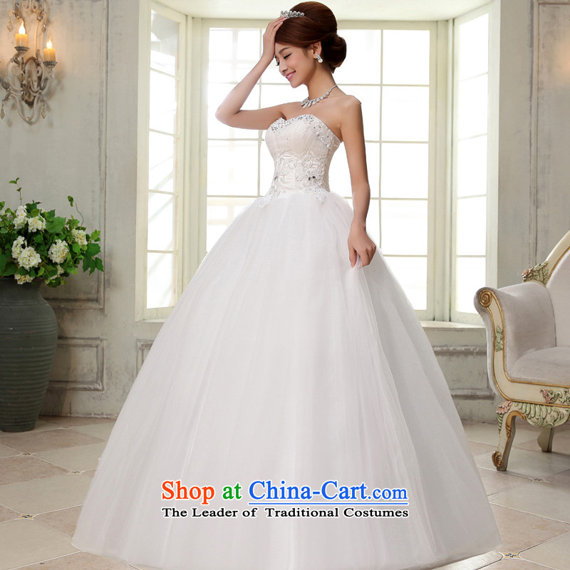 The privilege of serving-leung 2015 new bride wedding dress wiping the chest white graphics to align the thin white wedding dresses S