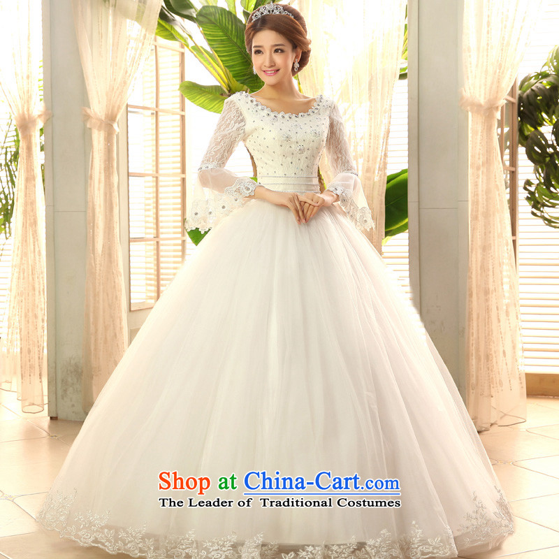 2015 new service-leung won the honor of Princess Bride long-sleeved horn version wedding dress to align the sweet wedding dress White�XL