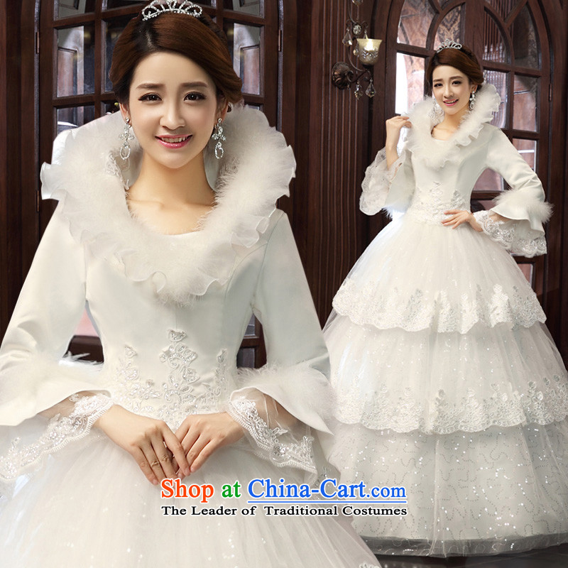 The privilege of serving-leung 2015 new Korean winter Princess Bride l align to Sau San wedding wedding dress White XXL