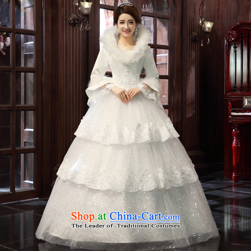 The privilege of serving-leung 2015 new Korean winter Princess Bride l align to Sau San wedding wedding dress white XXL, honor services-leung , , , shopping on the Internet