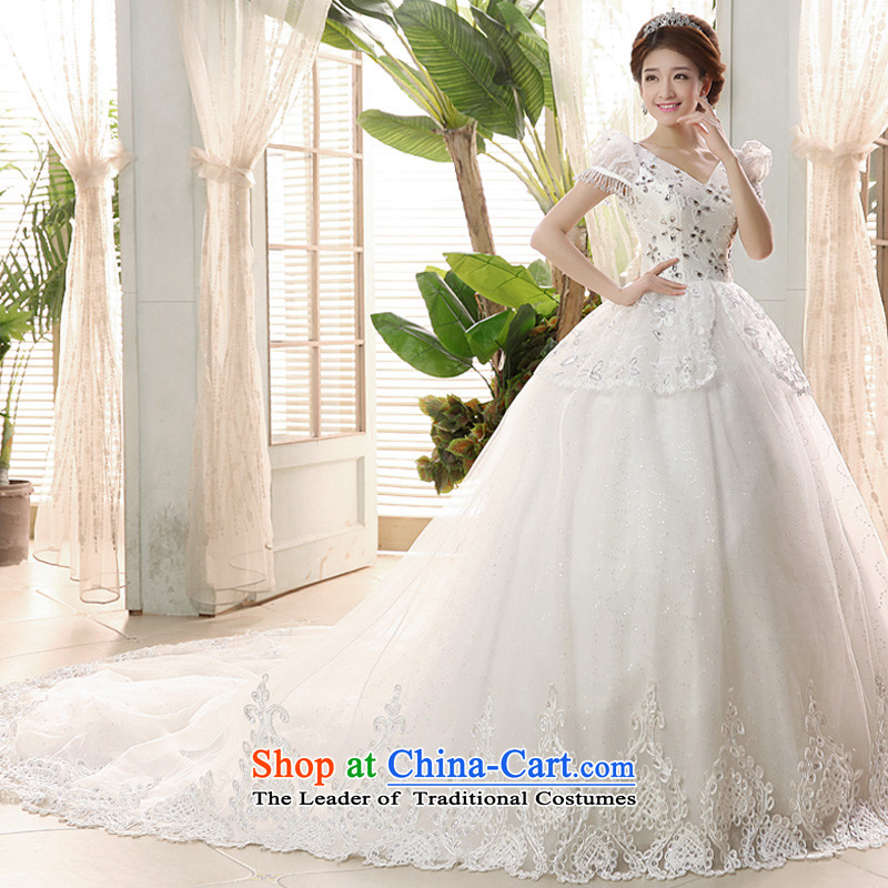 The privilege of serving-leung 2015 new marriages Korean shoulders V-Neck video thin tail wedding dress dresses sweet white�2XL