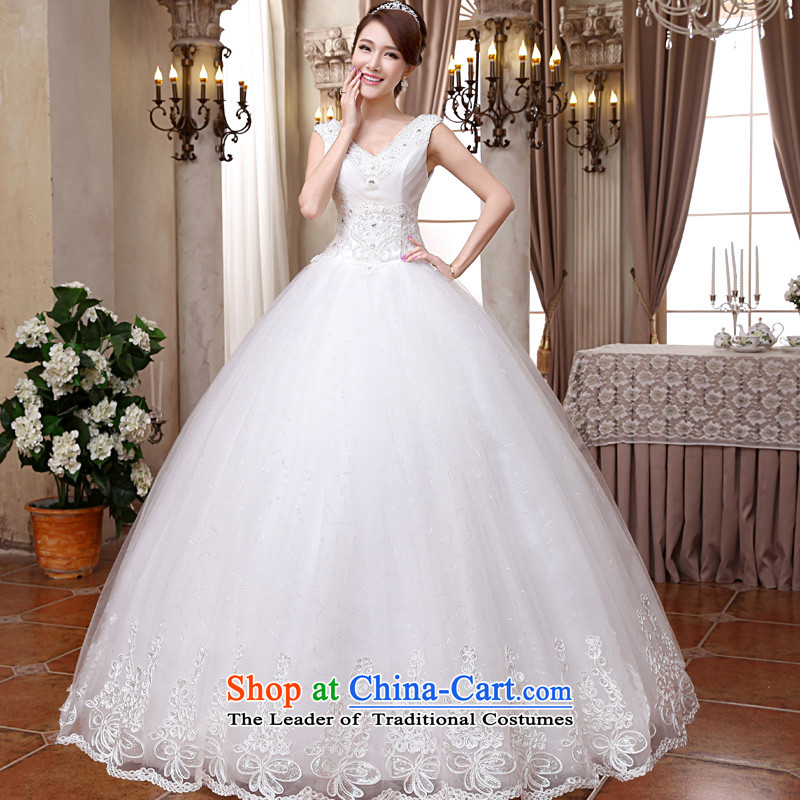 The privilege of serving-leung 2015 new Korean brides wedding dress deep V-Neck shoulders to align the stylish bon bon skirt wedding White?XXL