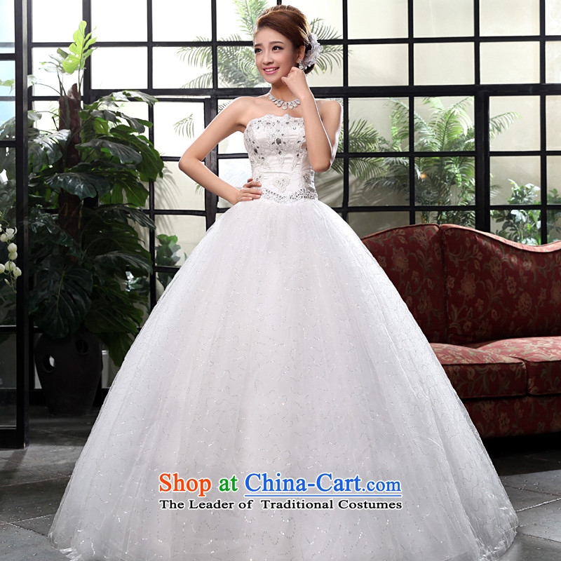 The privilege of serving-leung 2015 new Korean brides wedding dress and stylish chest to Princess bon bon skirt straps wedding White XL