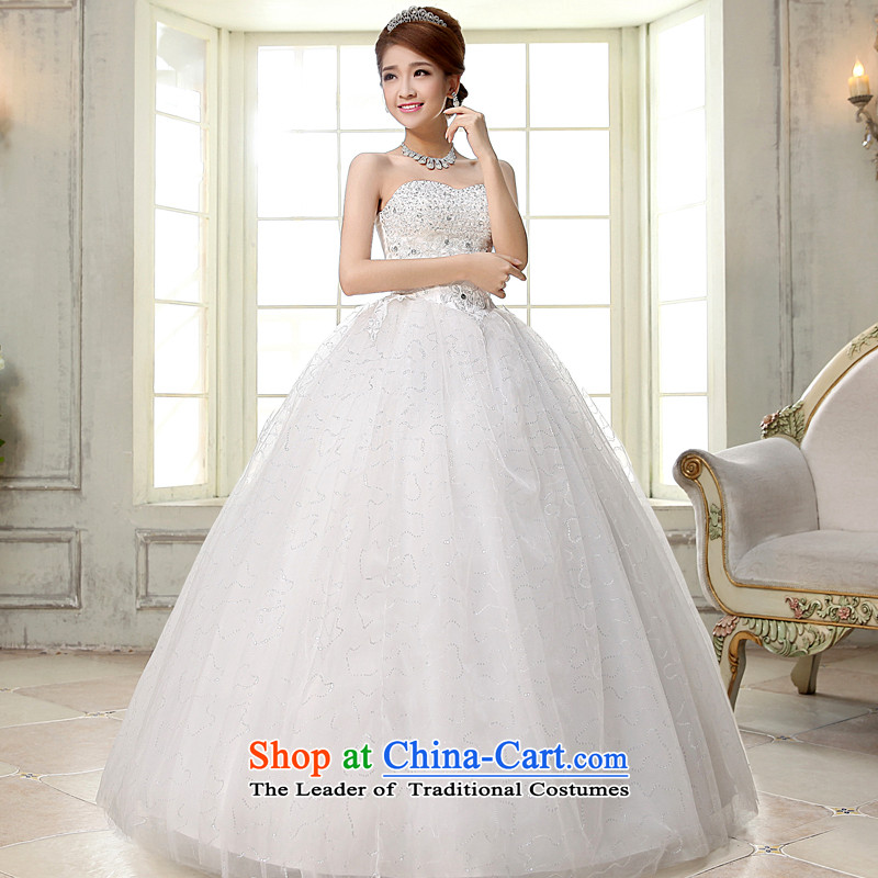 The privilege of serving-leung 2015 new bride wedding dress Korean fashion and chest bon bon skirt to bind a Graphics alignment thin wedding White M