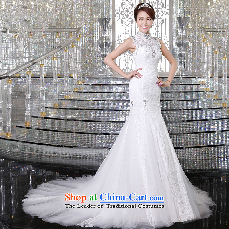 The privilege of serving-leung 2015 new marriages a field shoulder back lace of fashionable tail wedding dresses White�2XL