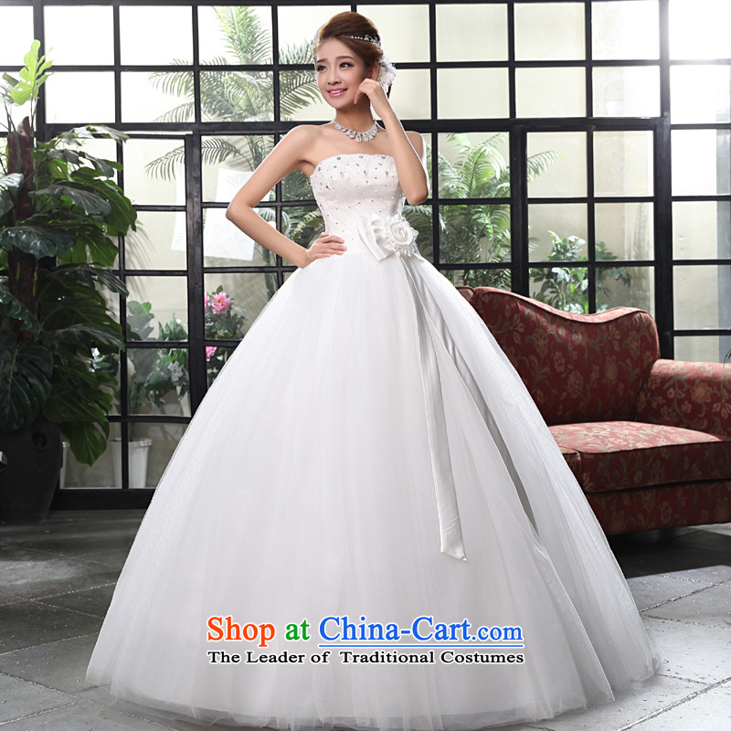 The privilege of serving-leung 2015 new Korean brides wedding dress and stylish chest to align the bow tie princess wedding dress White聽XL