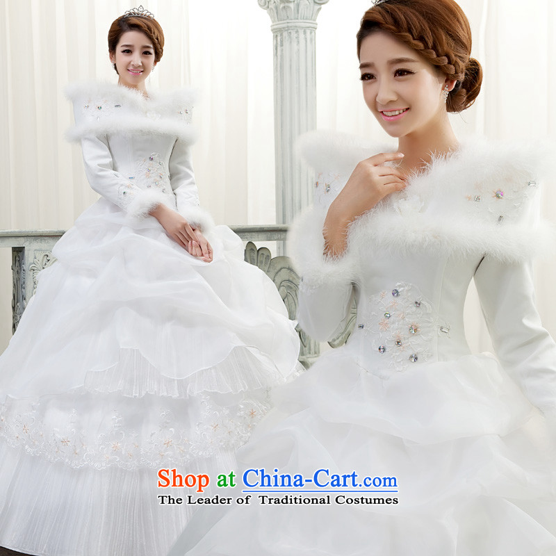 The privilege of serving-leung 2015 winter new marriages a long-sleeved field to align the shoulder graphics thin wedding dress dresses Princess White�2XL