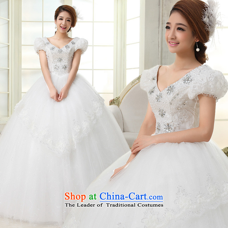 The privilege of serving-leung 2015 new Korean brides wedding dress shoulder shoulders the word bubble to align the Cuff bon bon skirt wedding white聽S