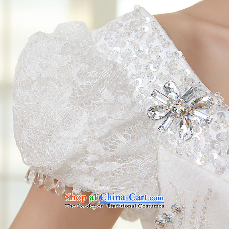 The privilege of serving-leung 2015 new Korean brides wedding dress shoulder shoulders the word bubble to align the Cuff bon bon skirt wedding whiteS, a service-leung , , , shopping on the Internet