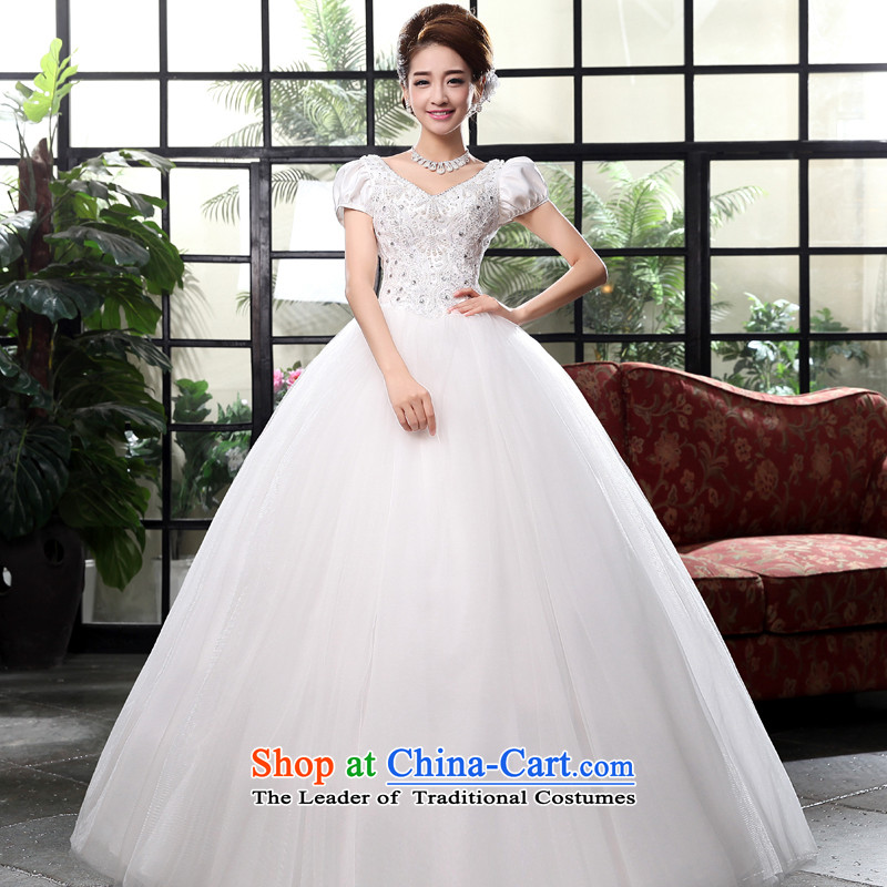 The privilege of serving-leung 2015 new Korean marriages V-neck to align the princess Sau San tie wedding dress dress White?2XL