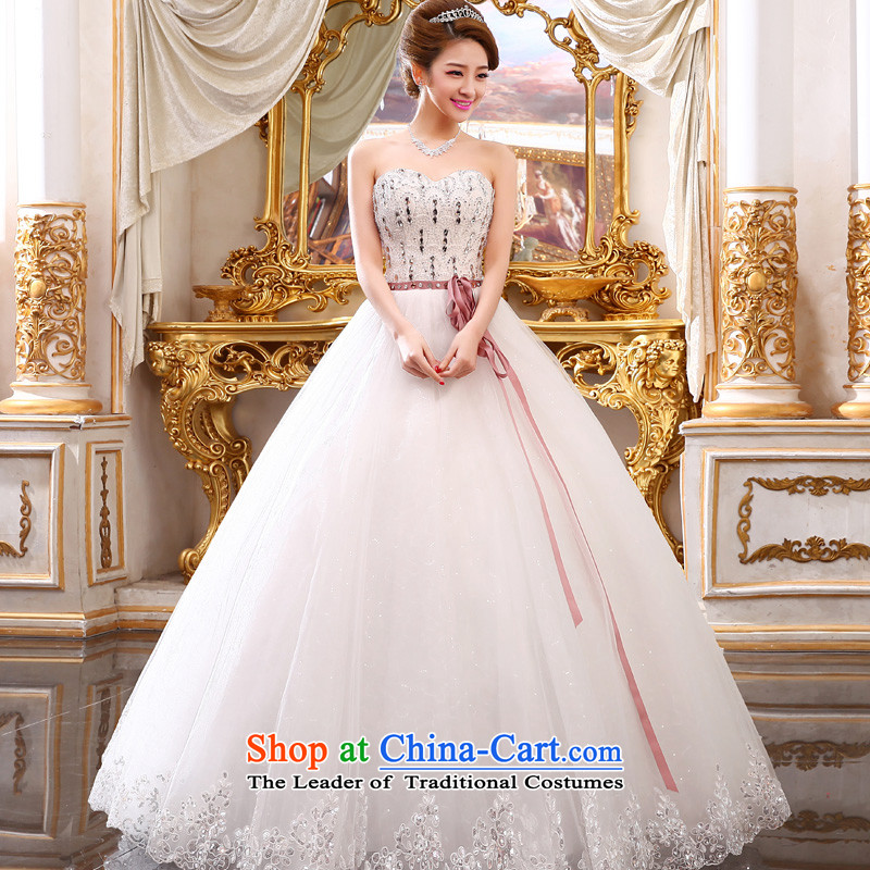 The privilege of serving-leung 2015 new bride wedding dress Korean fashion Princess Mary Magdalene chest to bon bon straps skirt wedding White聽XXL