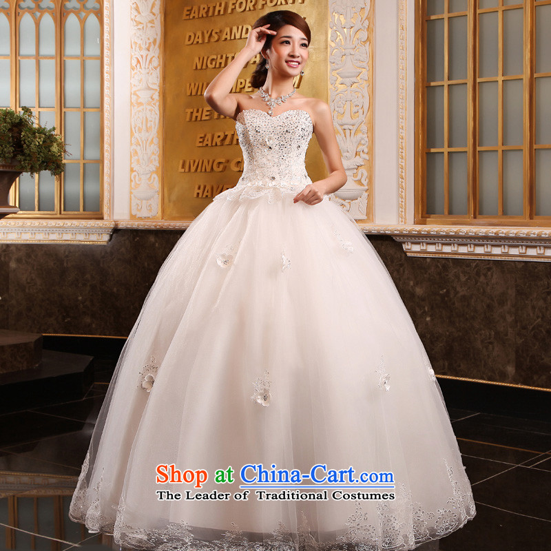 The privilege of serving-leung 2015 new Korean bridal fashion and chest to wedding dress lace diamond minimalist wedding dress White�XXL