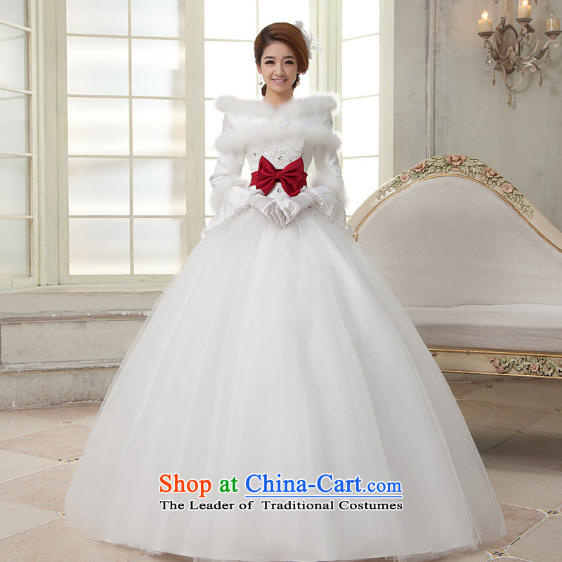 The privilege of serving-leung 2015 new Korean brides wedding dress winter 2-bow tie align for Maomao to wedding dress white?S