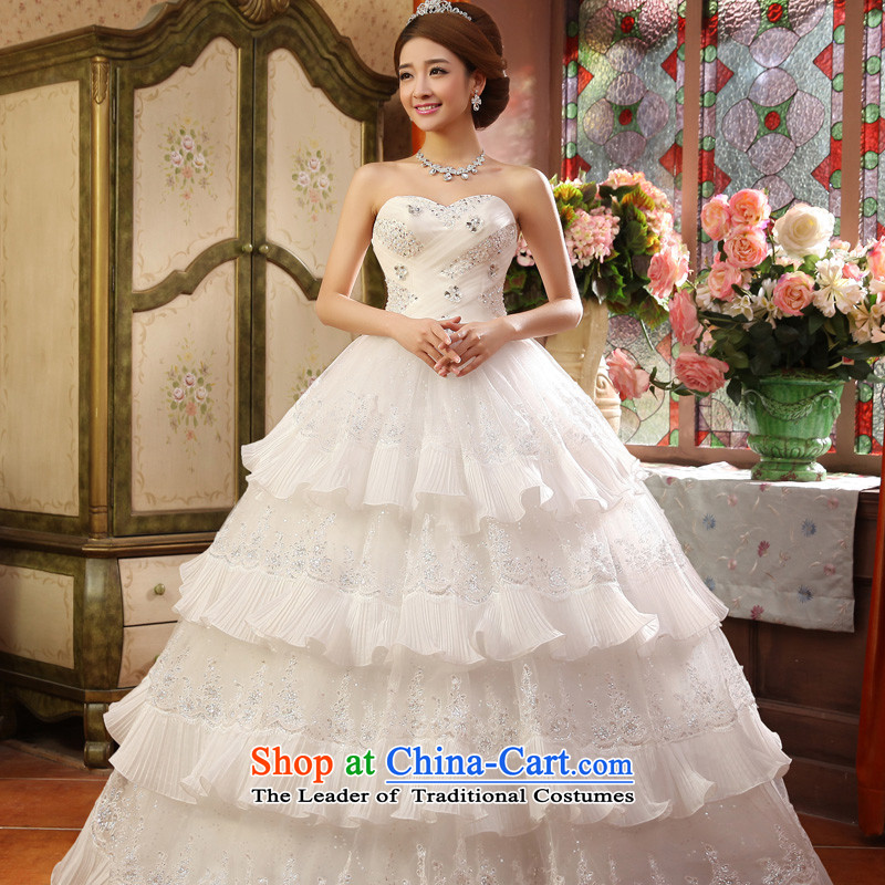 2015 new privilege service-leung Korean fashion Princess Mary Magdalene chest to align the bride wedding dress wedding dress ceremony sweet White聽XXL