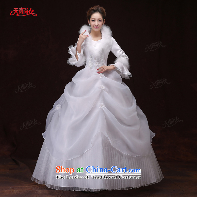 Rain-sang Yi marriages winter wedding white long-sleeved clip cotton blooms diamond elegant hotel code bows to dress HS903 white?S