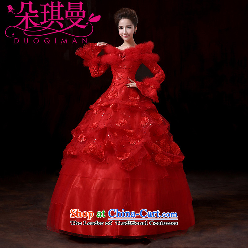 A Cayman new 2014Qi winter long-sleeved gross for thick integrated belt clip cotton wedding winter clothing red wedding marriages bows services�M
