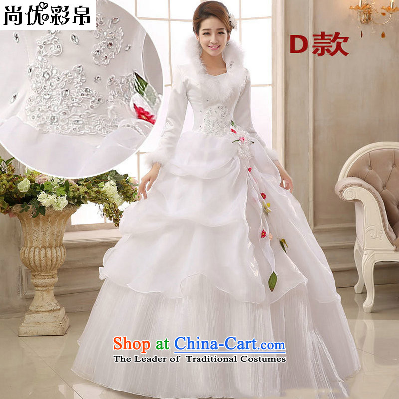 There is also a grand style winter optimize wedding dresses 2014 new winter long-sleeved thick cotton plus wedding winter bride YSB2081) D winter�M