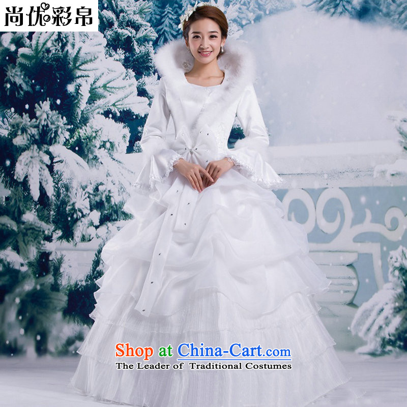 There is also a grand winter, Optimize Korean winter wedding dresses 2014 new upscale collar for long-sleeved cotton plus gross thick to align YSB2082 White?M