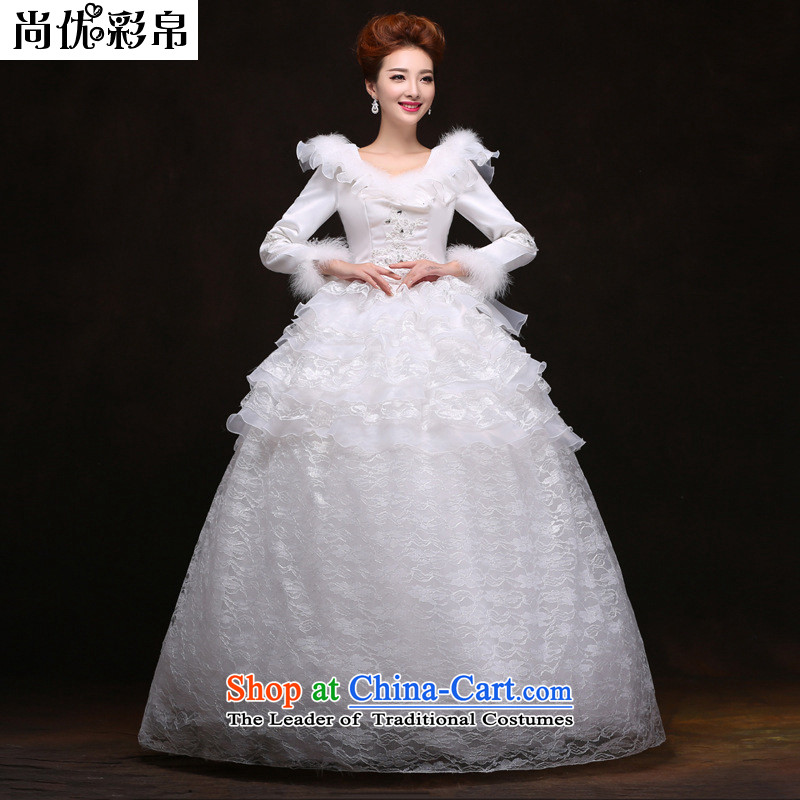 There is also optimized 8D 2014 autumn and winter new wedding dress thick Warm Korean brides Word Graphics thin shoulders to align the Sau San YFTK2084 White�XXL