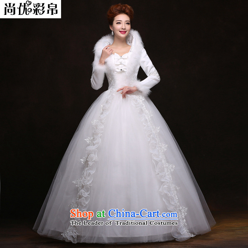 There is also optimized 8D to align the winter wedding dresses long-sleeved winter_ folder cotton YFTK2085 White?XL