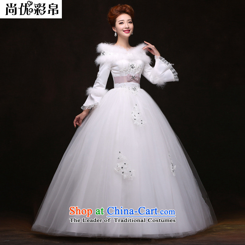 There is also a grand winter, optimize the word thick cotton plus long-sleeved shoulder wedding dresses YFTK2088 White�XXL
