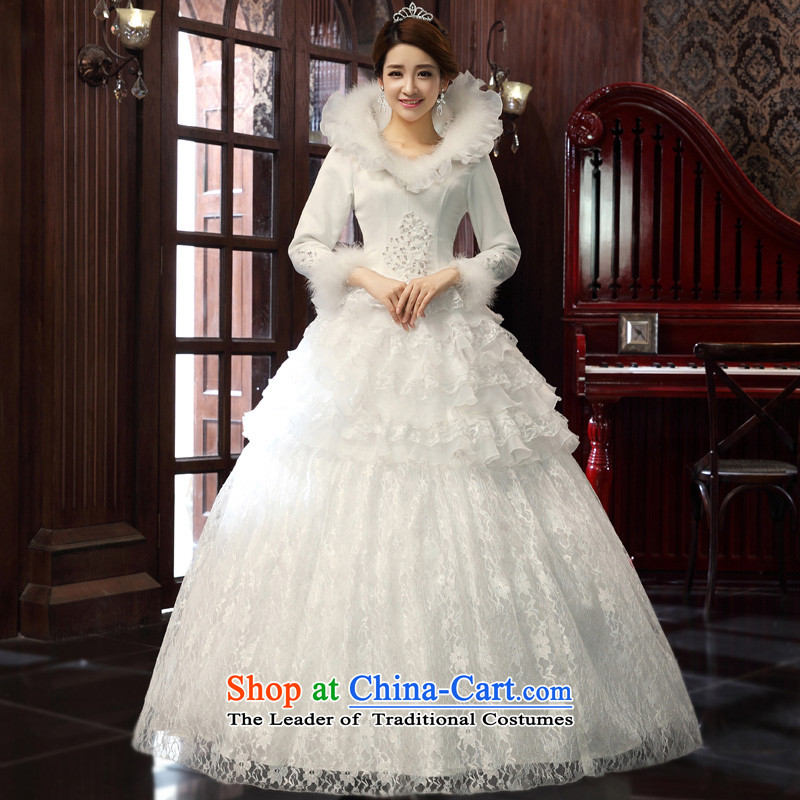 The privilege of serving-leung 2015 new Korean brides winter large collar align with lace video thin wedding dress wedding dress White�XL