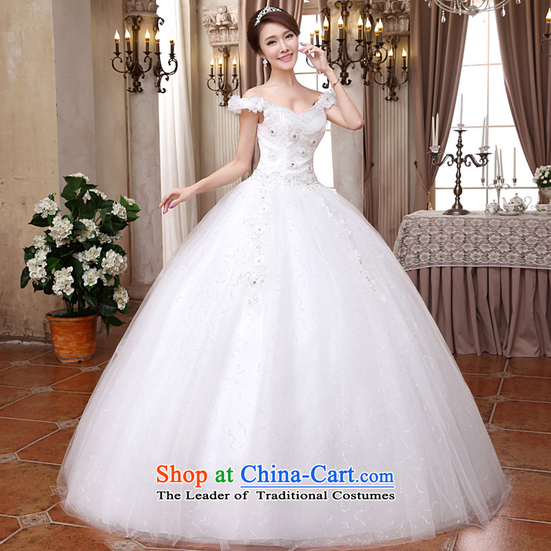 The privilege of serving-leung 2015 new Korean brides wedding dress V-Neck long to align the Sau San video thin wedding dress White�XXL